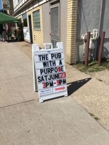 Sandwich board for the Pub with a Purpose Event