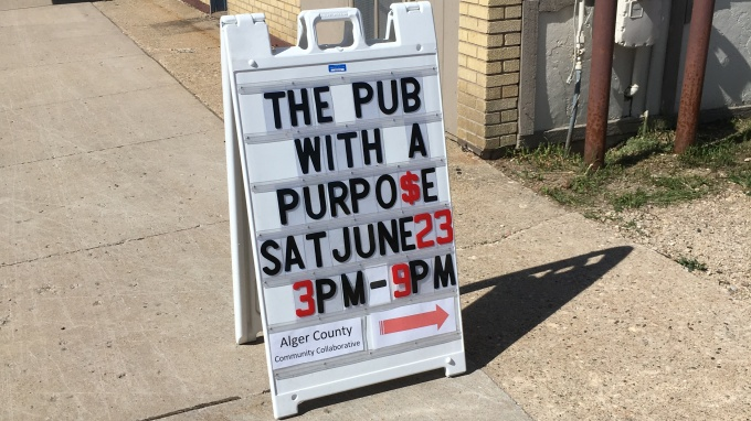 Sandwich board for the Pub with a Purpose Event