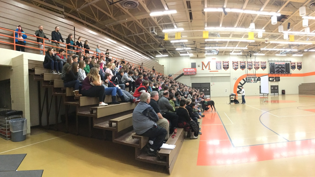 Alger County students hear a presentation about depression and suicide.