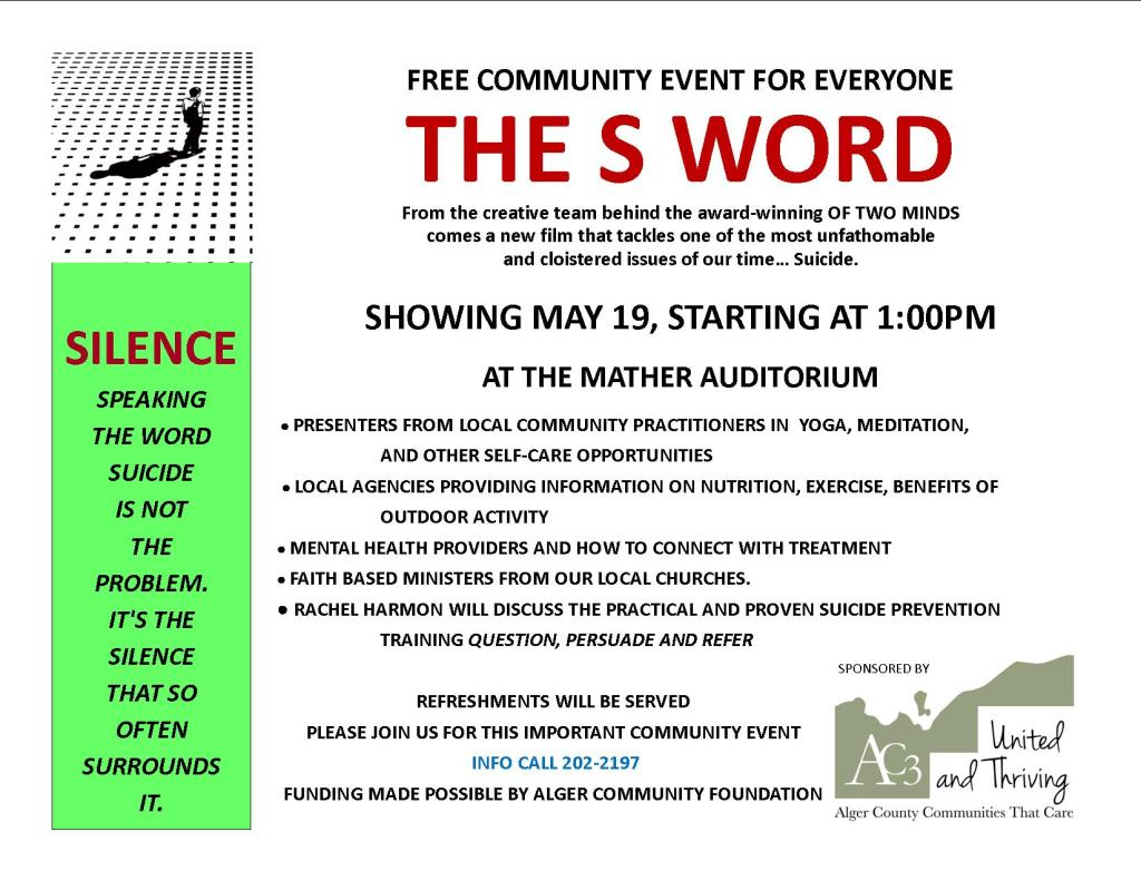 "Poster for the 2019 ""S"" Word Event"