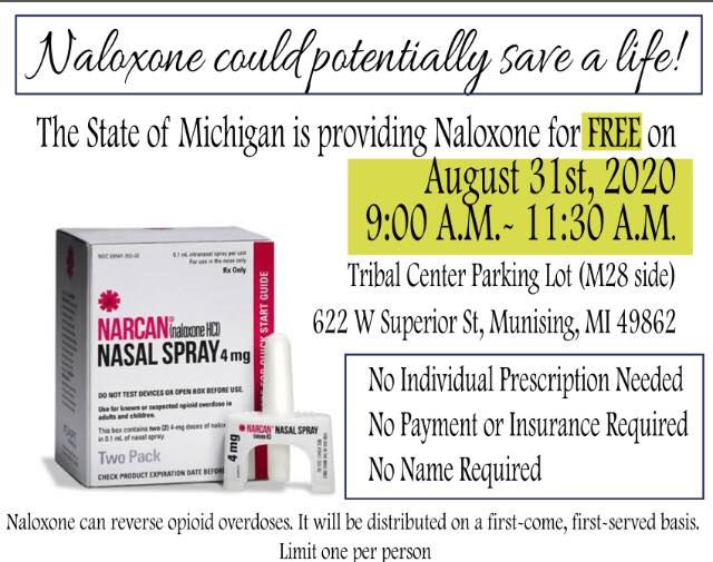 Poster for 8/31/2020 NARCAN distribution